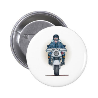 Police Motorcycle Button Pin