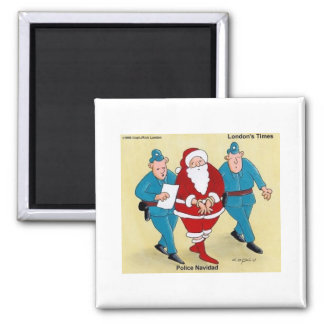 Police Navidad Funny Christmas Gifts & Tees Square Magnet