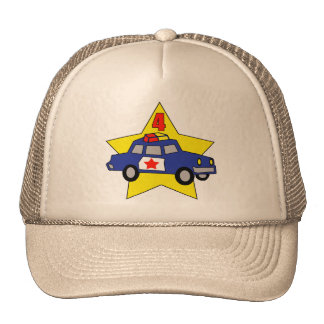 Police Officer 4th Birthday Gifts Trucker Hat