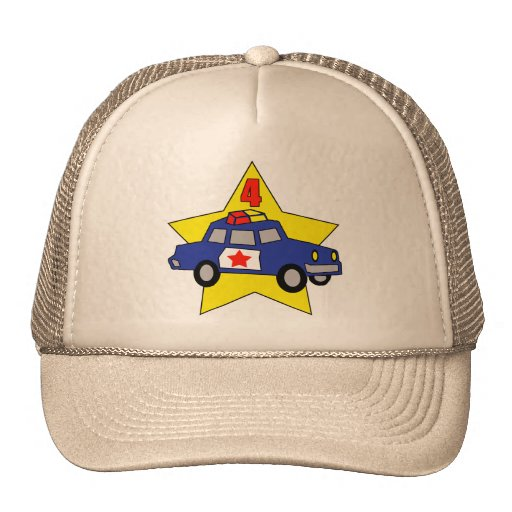 Police Officer 4th Birthday Gifts Hat