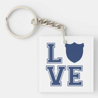 Police Officer Badge - L O V E Single-Sided Square Acrylic Key Ring