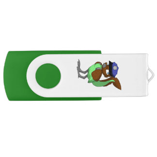 Police Officer Chocolate/Mint Reptilian Bird Swivel USB 3.0 Flash Drive