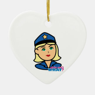 Police Officer Ceramic Heart Decoration