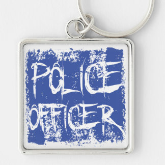 Police Officer Etched Silver-Colored Square Key Ring
