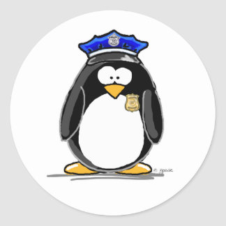 Police Officer Penguin Round Stickers