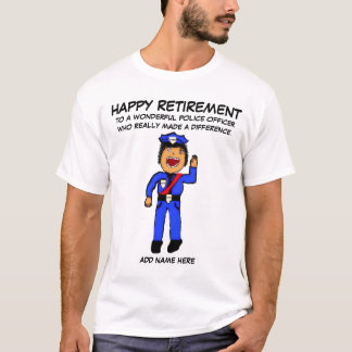 Police Officer Retirement Cartoon T-Shirt