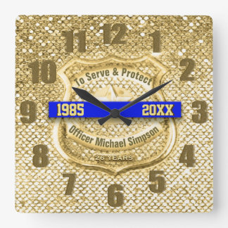 Police Officer Retirement Square Wall Clock
