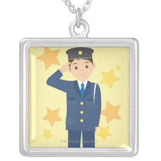 Police Officer Silver Plated Necklace