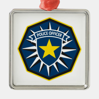 Police Officer Star Silver-Colored Square Decoration