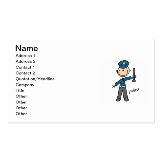 Police Officer Stick Figure Business Card Templates