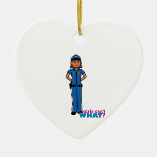 Police Officer Woman Ceramic Heart Decoration
