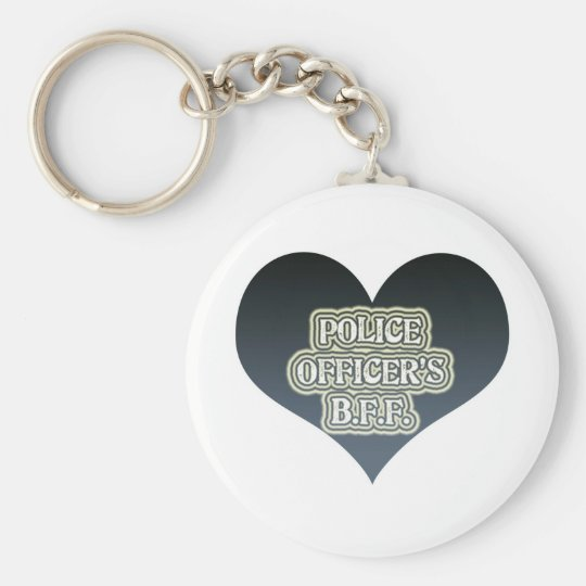 Police Officer's B.F.F. Basic Round Button Key Ring
