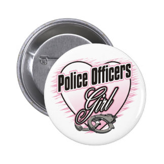Police Officers Girl 6 Cm Round Badge