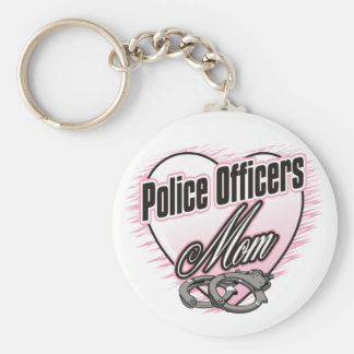 Police Officers Mom Basic Round Button Key Ring