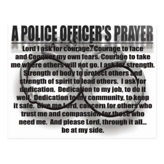POLICE OFFICERS PRAYER POSTCARD