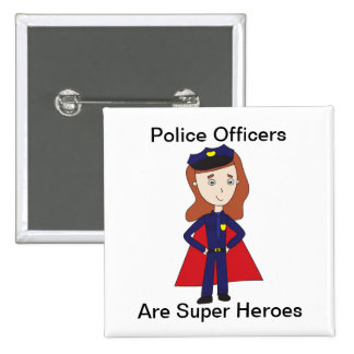 Police Officers Super Heroes (Female) 15 Cm Square Badge
