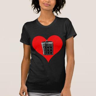 Police Phone Box Heart Dark T Shirt