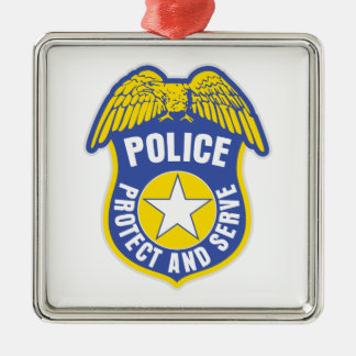 Police Protect and Serve Badge Silver-Colored Square Decoration