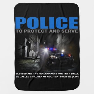 Police Protect And Serve Blue Lives Matter Baby Buggy Blanket