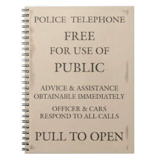 Police Public Call Phone Box Notice Notebook