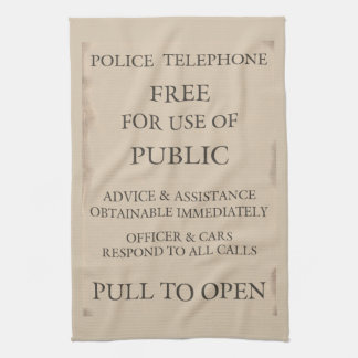 Police Public Call Phone Box Notice Tea Towel