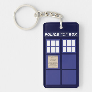 Police Public Call Phone Box Single-Sided Rectangular Acrylic Key Ring