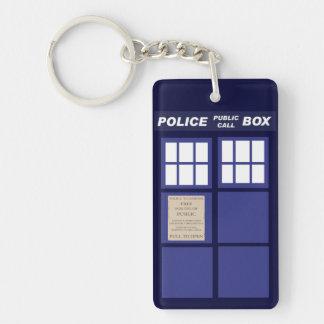 Police Public Call Phone Box Single-Sided Rectangular Acrylic Key Ring