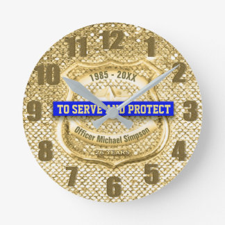 Police Retirement Gold Custom Round Clock