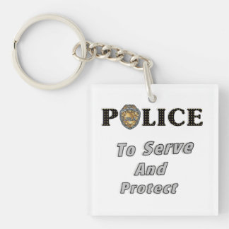 Police Serve and Protect Double-Sided Square Acrylic Key Ring