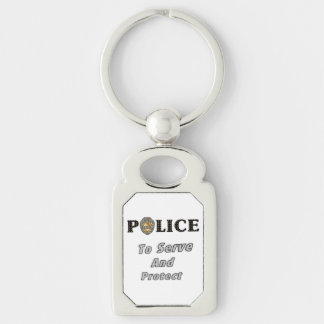 Police Serve and Protect Silver-Colored Rectangular Metal Keychain