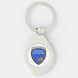 Police Serving Proudly Key Chain