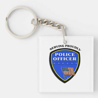 Police Serving Proudly Acrylic Key Chain