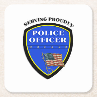 Police Square Paper Coaster