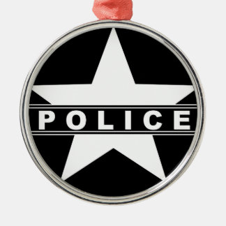 police star text department badge law symbol christmas ornament