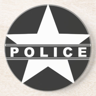 police star text department badge law symbol coaster