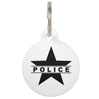 police star text department badge law symbol pet ID tag