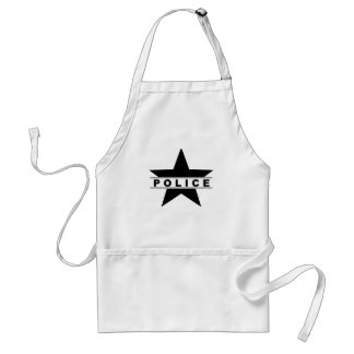 police star text department badge law symbol standard apron