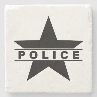 police star text department badge law symbol stone coaster