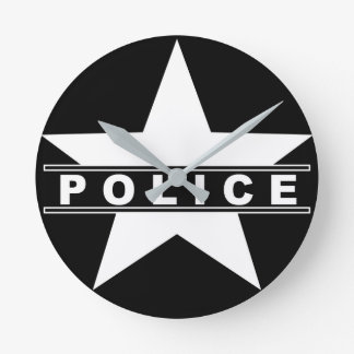 police star text department badge law symbol wall clocks