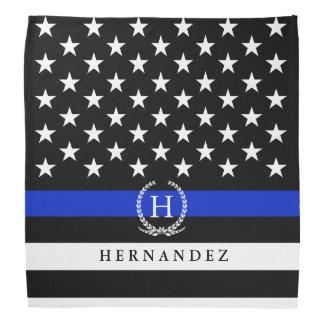 Police Styled American Flag Custom Monogram Bandana