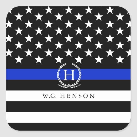 Police Styled American Flag Monogram Decal Square Sticker