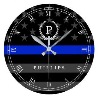 Police Styled American Flag Monogram Wallclock