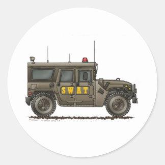 Police SWAT Team Hummer Law Enforcement Round Sticker