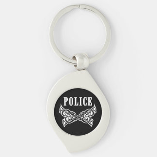 Police Tattoo Silver-Colored Swirl Key Ring