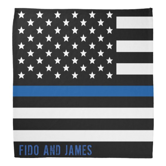 Police Thin Blue Line American Flag Add Name