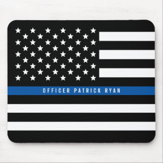 Police Thin Blue Line American Flag Add Name Mouse Mat