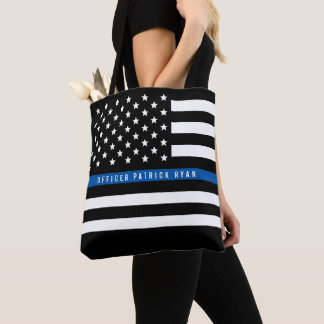 Police Thin Blue Line American Flag Add Name Tote Bag