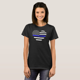Police Thin Blue Line American Flag Heart T-Shirt