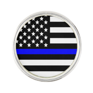 Police Thin Blue Line American Flag Lapel Pin