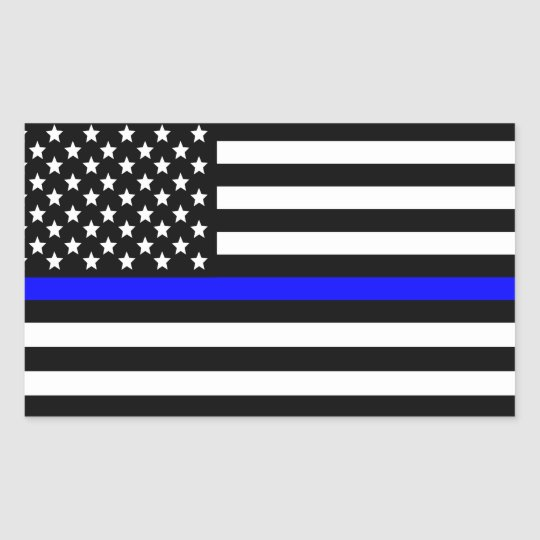 Police Thin Blue Line American Flag Rectangular Sticker